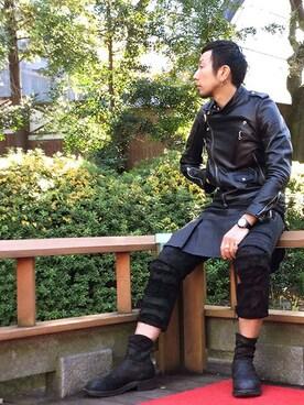 JAM HOME MADE 東京店|Ryunosuke Terashiさんのライダースジャケット「MONSTER モーターサイクルジャケット(JAM HOME MADE|ジャムホームメイド)」を使ったコーディネート