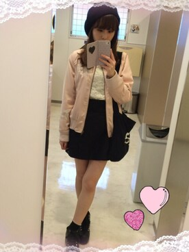 ♡hikaru♡さんの「ヴィンテージローズブルゾン(Honey Salon by foppish|ハニーサロンバイフォピッシュ)」を使ったコーディネート