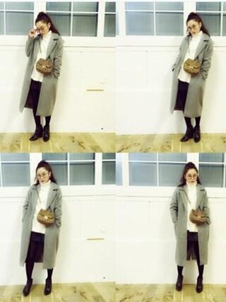 宮城舞さんの「light wool コート(EMODA|エモダ)」を使ったコーディネート