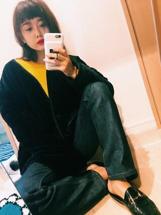 宮城舞さんの「ベロアキルトジャケット(LAGUNAMOON|ラグナムーン)」を使ったコーディネート