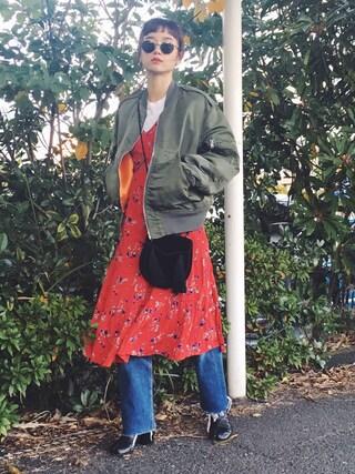 宮城舞さんの「【HANES】パック入りクルーネックTシャツ赤(3P)(HANES|ヘインズ)」を使ったコーディネート