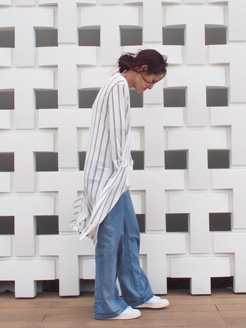 MURUA本部|MURUAさんのノーカラージャケット「【CASUAL】ノーカラーロングJK(MURUA|ムルーア)」を使ったコーディネート