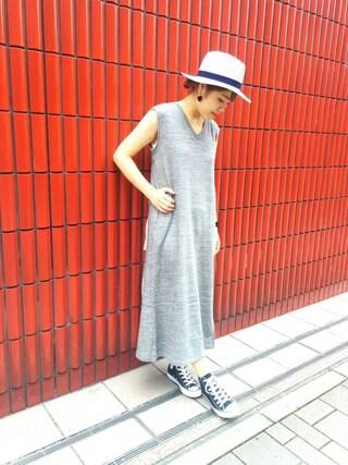HEAVEN27 大阪|近藤琴巳さんの「SWEAT V-NECK DRESS(MILKFED.|ミルクフェド)」を使ったコーディネート