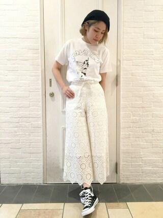 HEAVEN27 大阪|近藤琴巳さんの「S/S TEE SMOKE LOGO(ロゴ/コラボ)(MILKFED.|ミルクフェド)」を使ったコーディネート