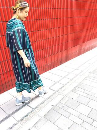 HEAVEN27 大阪|近藤琴巳さんの「PRINTED CHIFFON DRESS(MILKFED.|ミルクフェド)」を使ったコーディネート