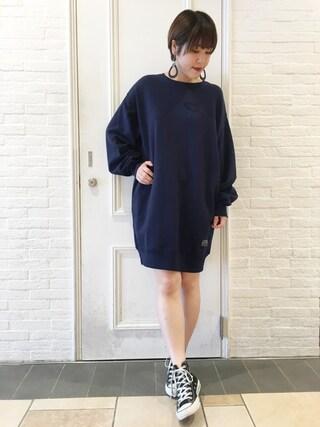 HEAVEN27 大阪|近藤琴巳さんの「BIG SWEAT DRESS(MILKFED.|ミルクフェド)」を使ったコーディネート