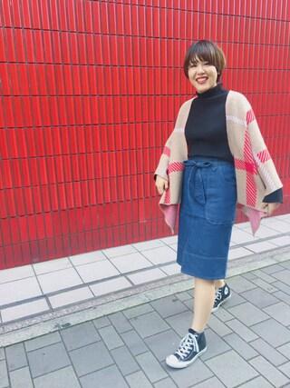 HEAVEN27 大阪|近藤琴巳さんの「KNIT PONCHO(MILKFED.|ミルクフェド)」を使ったコーディネート
