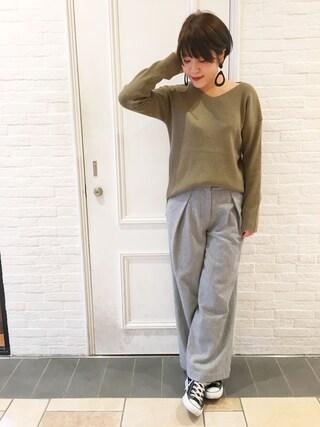HEAVEN27 大阪|近藤琴巳さんの「WOOL TUCKED WIDE LEG PANTS(MILKFED.|ミルクフェド)」を使ったコーディネート
