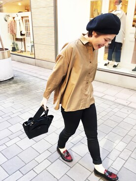 MILKFED. 大阪|近藤琴巳さんの「【HUNTISM】Rib Beret / MADE IN JAPAN(HUNTISM)」を使ったコーディネート