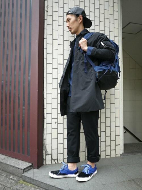 サルエルパンツ着こなしメンズのキャップ「603 603 PVCベースボールキャップ」を使ったコーディネート