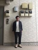 John Lemonさんの「【narifuri】 Seersucker pocketable jacket(narifuri ナリフリ)」を使ったコーディネート