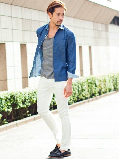 BEAUTY&YOUTH UNITED ARROWSさんの「【WEB限定】by∴ ロープ染め インディゴシャツ (JAPAN FABRIC)(BEAUTY&YOUTH UNITED ARROWS)」を使ったコーディネート