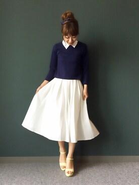 kumemiさんの「ミモレ丈タックフレアスカート(RANDA|ランダ)」を使ったコーディネート