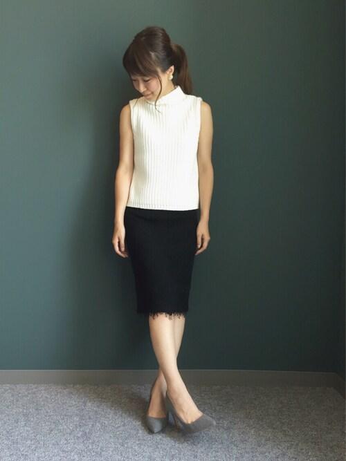 kumemiさんの「レースタイトスカート(RANDA)」を使ったコーディネート