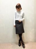kumemiさんの「ウールラップミディスカート(RANDA ランダ)」を使ったコーディネート