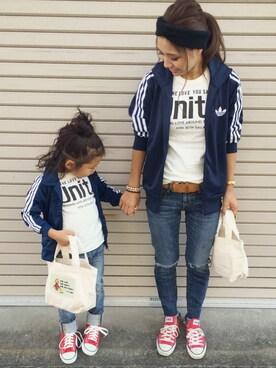 LittlePanteaさんの「ベビー キッズ アディダス ジャージ セットアップ adidas FIREBIRD TS(adidas)」を使ったコーディネート