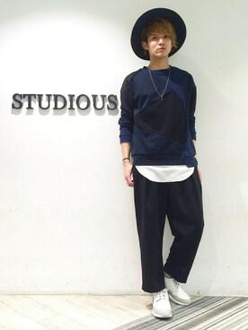 STUDIOUS MENS ルミネエスト新宿店|YUYA KUR☺︎DAさんの「STUDIOUS パッチワークスウェット(STUDIOUS)」を使ったコーディネート