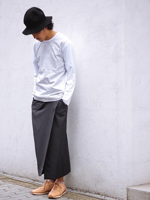 Tremoloさんの「GANRYU【ガンリュウ】綿天竺 × 綿ブロード迷彩柄オンプリントTシャツ(GANRYU)」を使ったコーディネート