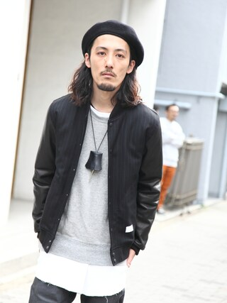 Tremolo|Tremoloさんの「Name. Stripe Varsity Jacket(Name.|ネーム)」を使ったコーディネート