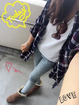 Erikaさんの「起毛チェック柄ロング/シャツ-2015AW-(INGNI)」を使ったコーディネート