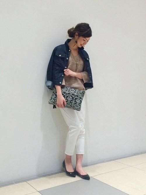 BLISS POINT マークイズ静岡|BLISS POINT マークイズ静岡店 Womens Staff3さんのニット/セーター「7GカタアゼVネックプルオーバー/715111(BLISS POINT|ブリスポイント)」を使ったコーディネート