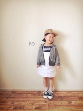 バニージョイ☆さんのTシャツ/カットソー「【ORCIVAL】キッズ 半袖ボートネックTシャツ 肩ボタン(Bshop|ビショップ)」を使ったコーディネート