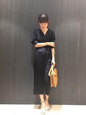 abahouse LE LUNDI JR名古屋高島屋店|chinamiさんの「カシュクールオールインワン(qualite)」を使ったコーディネート