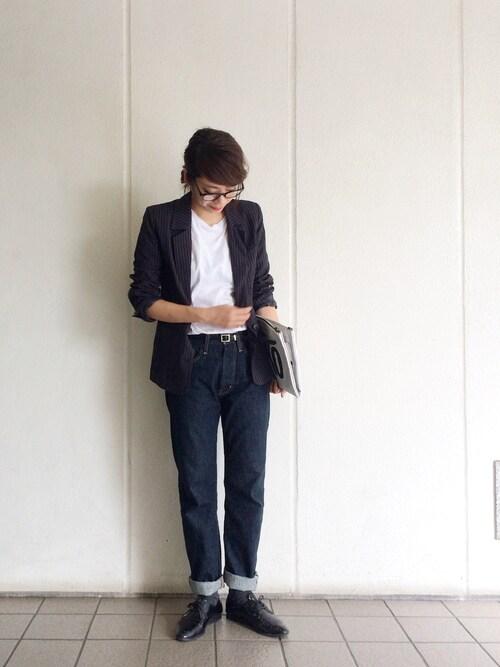 KAORIさんの「ヘリンボーンストライプジャケット(TODAYFUL)」を使ったコーディネート
