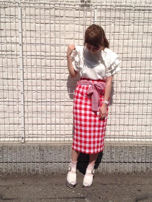 キ ダ チ ナ ツさんの「ギンガムいっぱいスカート(merry jenny)」を使ったコーディネート