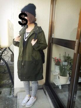 かなさんの「WOMEN ミリタリーコート(ユニクロ|ユニクロ)」を使ったコーディネート
