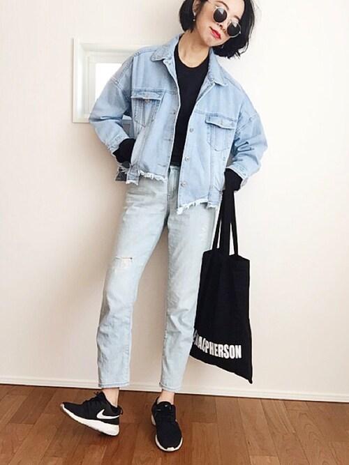 搭配nike球鞋(黑色系)的女性时尚穿搭总览(身高:171cm