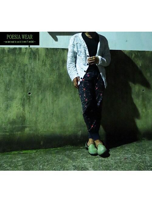 POESIA-Mas-さんの「[POESIA WEAR] ジャカードニットジャケット(POESIA WEAR)」を使ったコーディネート