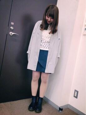 ikumiさんの「【mystic】ムジフロント重ね台形スカート(mystic|ミスティック)」を使ったコーディネート