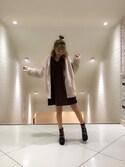 千田詩穂里さんの「エコファーサテンコンビブルゾン(merry jenny|メリージェニー)」を使ったコーディネート