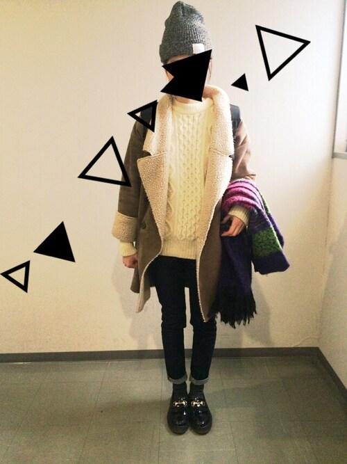 MUJI(無印良品)のニット/セーター、スキニーパンツ等を使った