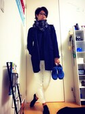 「Burberry Giant Check Cashmere Scarf(Burberry)」 using this Genki looks