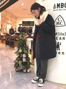 coen Grand Store越谷レイクタウン店 coen  高林さんのストール/スヌード「フラッフィーフェイクファースヌード(coen コーエン)」を使ったコーディネート