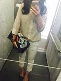 eさんの「綿混ボイルシャツ(OPAQUE.CLIP|オペークドットクリップ)」を使ったコーディネート