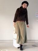 たまさんの「【一部予約】BEAMS BOY / バックサテン 4ポケット ミリタリーロングスカート(BEAMS BOY|ビームスボーイ)」を使ったコーディネート