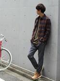 Rikuさんの「《WEB限定》予約ダークネルチェックシャツ#(JOURNAL STANDARD|ジャーナルスタンダード)」を使ったコーディネート