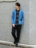 Rikuさんの「《WEB限定》ネルダークボーダーバンドカラーシャツ#(JOURNAL STANDARD|ジャーナルスタンダード)」を使ったコーディネート