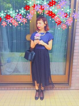 Reina  Negishiさんの「【再入荷しました!】CAROLINA GLASER / ドットチュール ワンピース(CAROLINA GLASER)」を使ったコーディネート