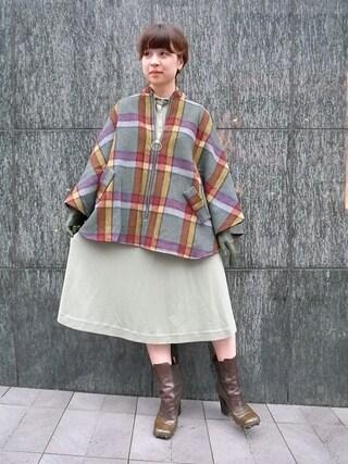 CAMBIOさんの「Wool Check Poncho」を使ったコーディネート