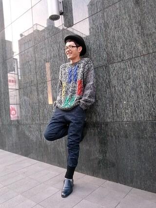 CAMBIOさんの「Design Knit Sweater」を使ったコーディネート