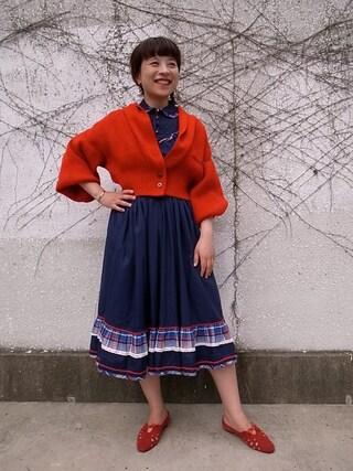CAMBIOさんの「Knit Jacket (Red)」を使ったコーディネート