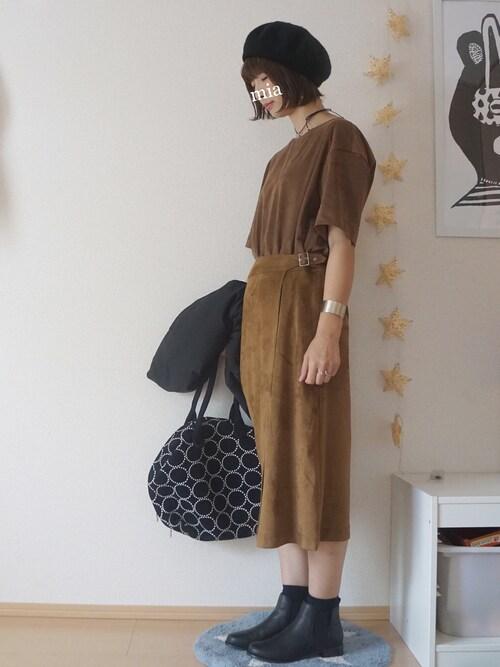 mia*さんの「フェイクスエードAラインスカート(studio CLIP)」を使ったコーディネート