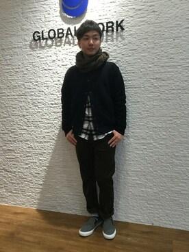 GLOBAL WORK 神戸ウミエ|GLOABL WORK富士南店さんのパンツ「ストレッチコーデュロイスリム5パンツ/725756(GLOBAL WORK|グローバルワーク)」を使ったコーディネート