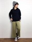 yukiさんの「総針クロップドニットパンツ(ADAM ET ROPE'|アダム エ ロペ)」を使ったコーディネート