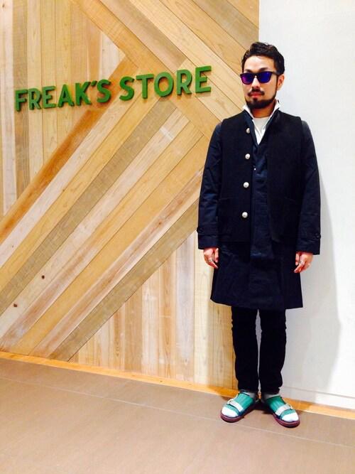 FREAKS STORE 梅田ルクア メンズ店 | オオヌキタケヒロさんのチェスターコート「FREAK'S STORE 【15SS新作】 フランダースリネン チェスターコート」を使ったコーディネート