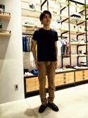 KOMURAさんの「ラフィークルーネックTシャツ(LE JUN|ル ジュン)」を使ったコーディネート